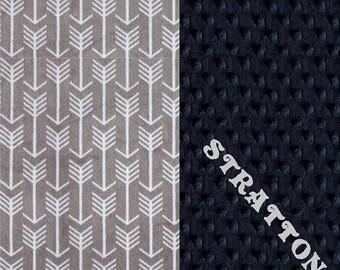 SALE Minky Baby Blanket Boy, Silver Navy Arrow Personalized Baby Blanket // Arrow Baby Blanket //#SDB0230 // Soft Baby Blanket