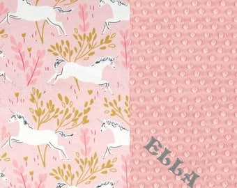 Minky Adult Blanket, Personalized Blanket -  Pink White Unicorn Blush Pink Throw - Unicorn Blanket // Minky Throw Blanket /