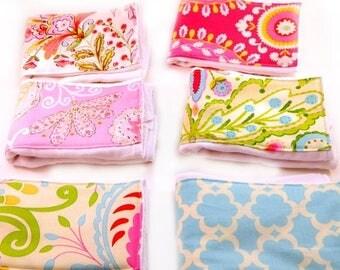 SALE Girl Burp Cloths Set - Pink Blue Green Flowers Set of 6 - Diaper Burp Clothes  // Cotton Burp Cloths // Baby Shower Gift / Flower Burp