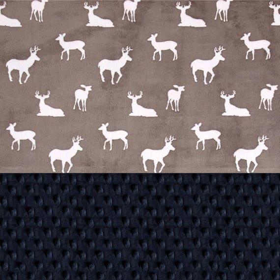 Deer Baby Blanket / Personalized Baby Blanket Boy, Navy Gray Kids Minky Blanket / Baby Gift / Baby Shower Gift / Receiving Blanket
