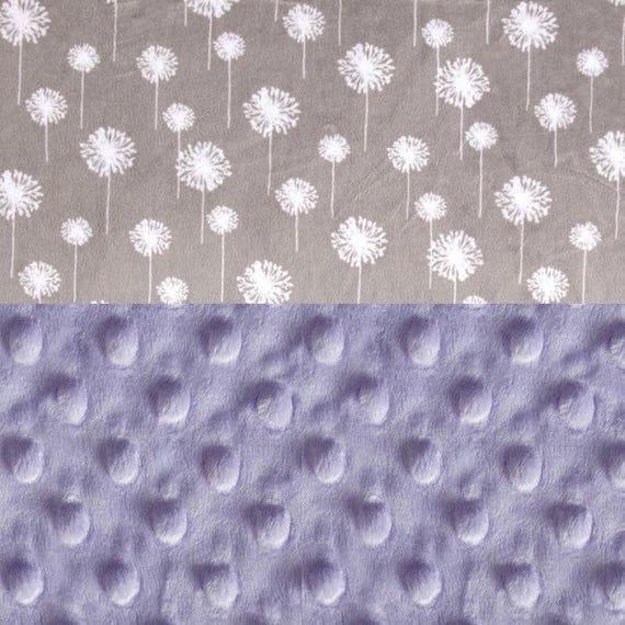 Minky Adult Blanket, Personalized Blanket - Lavender Gray Flowers Blanket Throw // Gray Minky Throw Blanket /Twin Blanket / Dandelion