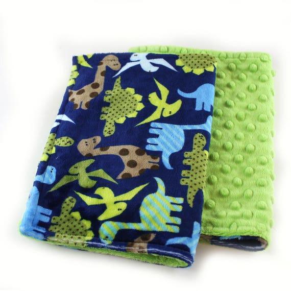 Green Dinosaurs Minky Baby Mini Lovey Blanket Baby Boy / Baby shower gift / Newborn Lovey Gift / security blanket / Boy Lovey / Name Blanket