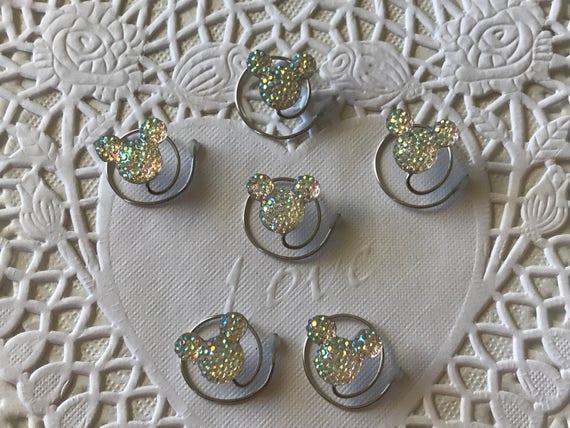 Disney Wedding-6 Clear AB Mickey Mouse Spin Pins--Cinderella Gift- Hair Coils-Hidden Mickeys