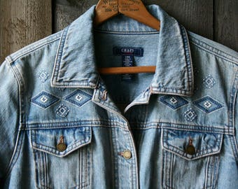Denim Jeans Jacket Embroidered by Chaps Light Blue Large Vintage From Nowvintage on Etsy