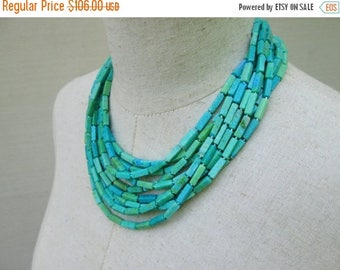 XMAS in JULY SALE Blue Green Multi Strand Chunky Beaded Collar Necklace, Layered Turquoise Cerulean Beads