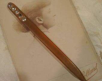 Vintage Hair Stick, Apple Juice Bakelite, Bun Holder, Art Deco Hair Stick
