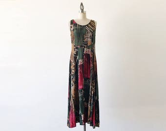 Vintage 1990s All That Jazz Sleeveless Abstract Print Grunge 90s Revival Long Dress - S