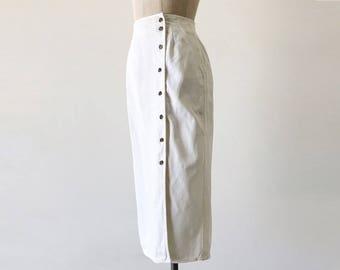 Vintage 1980s White Denim Straight Pencil Cotton Knee Length Wrap Skirt - XXS/XS