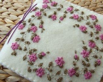 Large Ivory Felt Hand Embroidered Needle Case
