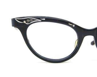 Vintage Black Cat Eye Glasses Eyeglasses or Sunglasses Frame