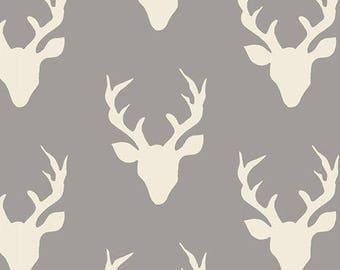 Custom Listing, Hello, Bear, Fabric, Buck Forest, Mist, Gray, White, Grey, Stag, Antlers, Baby, Boy, Unisex, Girl, 5 Yards