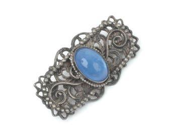 Blue Glass Cabochon Filigree Brooch Victorian Revival Vintage