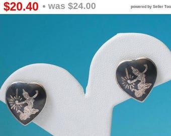 Siam Heart Earrings Sterling Niello Enamel Vintage