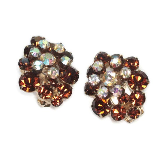 Golden Brown and Clear AB Rhinestone Earrings Layered Dimensional Clusters Clip On Style Vintage