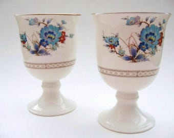 Vintage Noritake  Bleufleur  Goblets - Set of Two White Porcelain Footed Goblets With  Blue Flowers - Noritake  Versatone Bleufleur