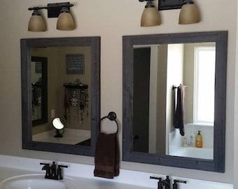 2 Reclaimed Wood Farm House Mirrors Size 28 x 36 - Rustic bathroom Mirror Set - Farmhouse Decor