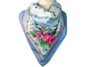1989s AVON Pastel Pink & Blue Floral and Striped Shabby Chic Cottage Chic Vintage Square Scarf