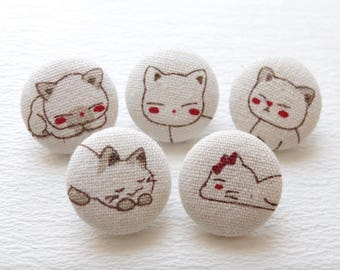 Lovely Japanese Kawaii Kimono Red Faces Shy Baby Bow Kitty Cats-Handmade Fabric Covered Buttons(0.87 Inches, 5PCS)