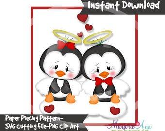 So In Love 1 Paper Piecing File,SVG File,penguin svg, valentine svg, svg, penguin Clip Art, valentine Clip Art, svg file,penguin