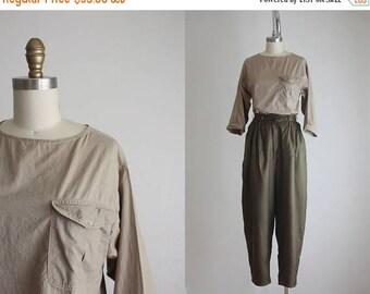 25% SALE crinkle khaki blouse