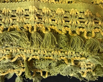 """1960s or 70s Avocado and Mustard Macrame Tassel Upholstery Trim - 4"""" by 5.5 yards"""