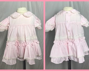 1890s Pale Pink Baby Girls Lacy Ruffled Dress by Bryan - Size 12 Months