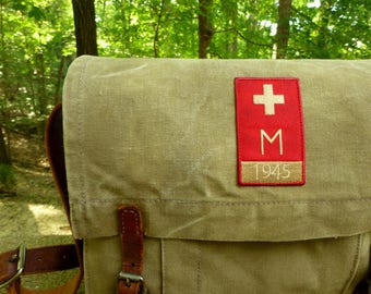 Vintage European Military Red Cross Medic Bag - Canvas Messenger Bag