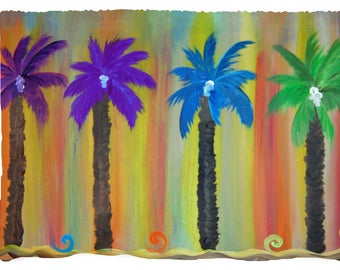 Colorful palm trees beach picnic or throw blanket from my original art