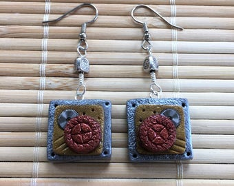 Industrial Style Steampunk Square Shape Dangle Earrings - Polymer Clay & Metal Jewelry for Woman Her