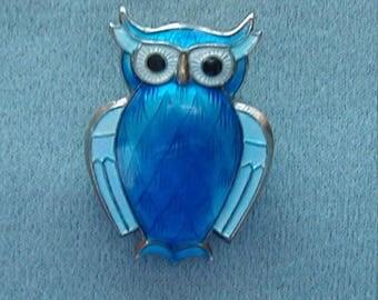 David Andersen Sterling Blue Guilloche Owl Brooch