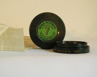 1921 Vintage Kodak Pictorial Diffusion Disk # 7  in Original Tin Case with Instructions