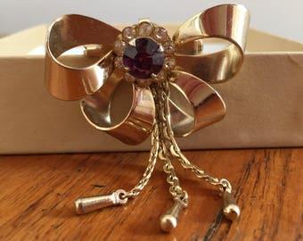 Vintage Gold-Tone Bow Brooch, bow pin, ribbon brooch, ribbon pin, purple rhinestone, amethyst rhinestone, 80s jewelry