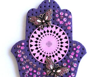 Mixed Media Purple Fantasy Hamsa, Polymer Clay, Wall hanging, Home decor, Butterfly and seed beads stitch