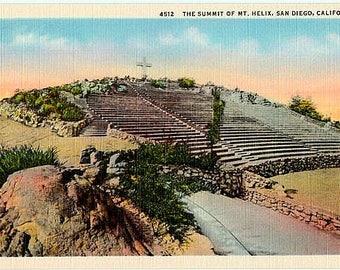 Vintage California Postcard - The Summit of Mt. Helix, San Diego (Unused)