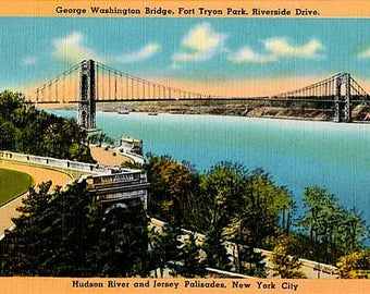 Vintage New York City Postcard - The George Washington Bridge from Fort Tryon Park (Unused)