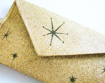 Gold goltter clutch bag - Starburst clutch bag  - evening purse