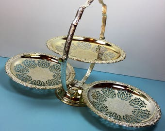 Silver Plated - Decorative Party Server - Serving Platter - Vintage Dining - Folding Serving Dish - Kitsch Party Server