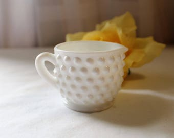 Vintage Small Milk Glass Hobnail Creamer, Possibly Fenton