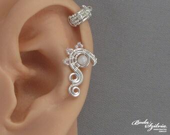 cartilage ear cuff 'angel' - wire wrapped ear cuff, moonstone ear cuff, moonstone jewelry, fake piercing, elegant ear cuff, wedding jewelry
