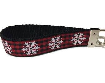 Christmas Keychain, Plaid Snowflake, Key fob, Wristlet