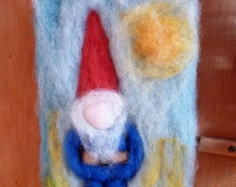 A sweet little gnome needle felted wool picture - Waldorf inspired - New Zealand wool  - Made in New Zealand