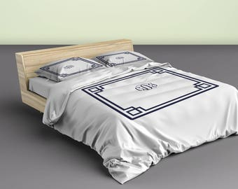 Simplicity Inverted Greek Key With Frame Duvet & Shams- Your Choice of Colors- shown color with white details