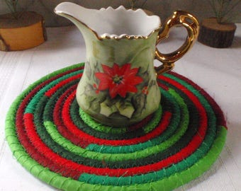 Red and Green Holiday Trivet, Hot Pad, Candle Mat, Table Mat -  Handmade by Me