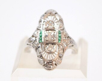 Diamond and Emerald Ring / Engagement ring / Unique / April May birthstones / vintage / estate / 3 stone ring / 14k white gold