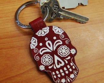 Dark Red Leather Sugar Skull Key Ring