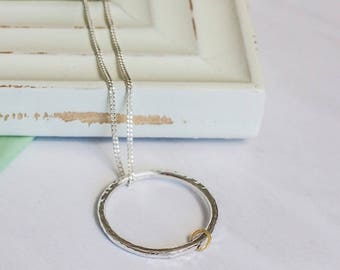 Sterling Silver and Gold Modern Minimalist Necklace