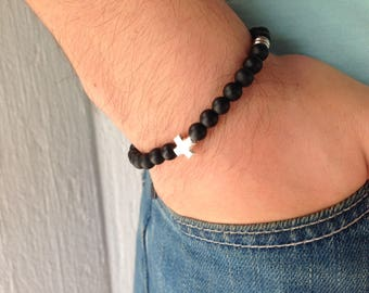 Men cross bracelet with black onyx matte beads - Greek jewelry - Sterling silver - Stainless steel - For men