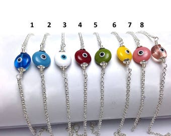 Evil eye bracelet - sterling silver - choice of colors - protection - good luck charm - evil eyes - Greece - Gift for her -
