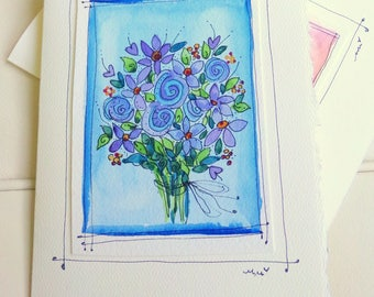 "Flower Bouquet Watercolor Original Strathmore Card 5"""" x 6 7/8"" & Envelope Blank  betrueoriginals"
