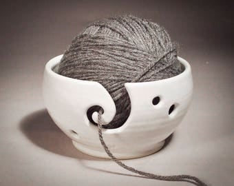Yarn Bowl with Spiral in White Thrown on Potter's Wheel